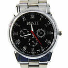 Fashion Mens Seiko Black Dial Water Resist Stainless Steel Chronograph Watch New