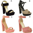 WOMENS LADIES PLATFORM BLOCK HIGH HEELS ANKLE STRAP WEDGE SANDALS PEEP TOE SIZE