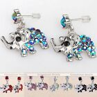 Pair Silver Plated Crystal Cute Elephant Animal Dangle Earrings Ear Studs Charm