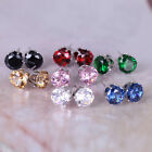 New Fashion Colors 6mm Crystal Zircon CZ Stud Earrings Elegant Wedding