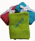 Personalised Embroidered Hoolaroo Baby Bright Pram Gift Blanket Cable Knit