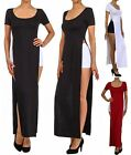 S M L Open Leg Sides double SLITS Split Flare SKIRT Short Sleeve Maxi Long Dress