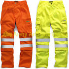 Hi Viz High Vis Safety Combat Cargo Work Trouser Pants Highways Road Rail Spec