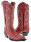 Women's Red Classic Western Style Cowboy Boots Casual Plain Leather