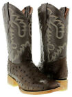 mens leather ostrich quill cowboy boots western crocodile square brown exotic