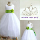 Adorable White/apple green flower girl party dress FREE SMALL TIARA all sizes
