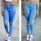 Sexy Women High Waisted Jeans Skinny Stretchy Pants Ripped Distressed Jeggings