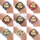 Female Girls Bling Rhinestone Round Quartz Bracelet Leather Wrist Watch Chic