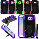 For Samsung Galaxy S6 Edge G925 Dual Layer KICKSTAND HYBRID HARD Case Cover +Pen