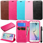 For Samsung Galaxy S6 Edge G925 Wallet LEATHER Skin POUCH Case Phone Cover + Pen