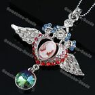 Silver Plated Crystal Angel Wing Heart Frame Lady Cameo Portrait Dangle Pendant