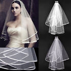 Hot White or Ivory 2T Wedding Bridal Veil Satin Edge With Comb Elbow