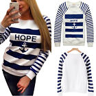 Fashion Womens Long Sleeve Jumper Pullover Tops Hoodie T Shirt Anchor Printed
