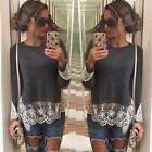 Women Lace Embroidery Long Sleeve Tops Summer Casual Shirt Cotton Blouse AU8-16