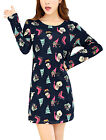 Ladies Full Sleeves Pullover Christmas Pattern Knitting Shift Dress