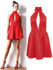 Women Sexy Open Back Casual Dresses Ladies High Neck Cocktail Skater Party Dress