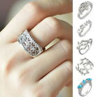1PC Silver Plated Wedding Ring Diamante Leaf Pattern Hollow Star Mask  Rings