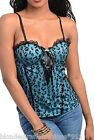 Black/Blue Leopard Lace Overlay Lace-Up Front Cami/Corset/Bustier/Tube Top S M L