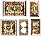 IMAGE OF FLORAL STAINED GLASS 15 LIGHT SWITCH COVER PLATE U PICK PLATE SIZE