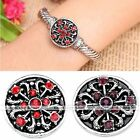 1x Rhinestone Heart Carved Button Charm Snap Fit Leather Bracelet DIY Gift