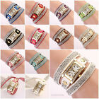 Fashion Vintage Women Square Dial Rhinestone Leather Bracelet Quartz Wrist Watch