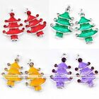 5X Silver Plated Enamel Crystal Xmas Christmas Tree Findings Charms Pendant Bead
