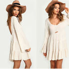 Sexy Womens Girls Backless Speaker Sleeve Casual Loose Evening Party Mini Dress