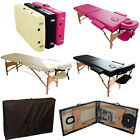 FOLDING 2 SECTION PORTABLE MASSAGE TABLE BED WOOD + COVER BAG TATTOO SPA COUCH