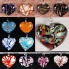 1x Foil Lampwork Glass Striped Heart Bead Flower Charm Pendant For Necklace DIY