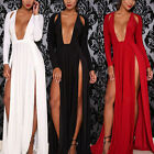Sexy Women Long Sleeve Slit Double High Split Deep V-Neck Club Party Maxi Dress