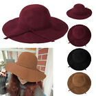 Vintage Women Lady Wide Brim Felt Bowler Fedora Hat Floppy Cloche