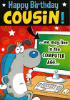 funny / humorous male COUSIN happy birthday card