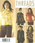 Misses Blouse Scarf Sewing Pattern Trim Sleeve Variations Button Front 4415