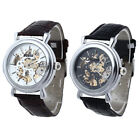 Mens Leather Automatic Mechanical Watch Gold Skeleton Sport Casual