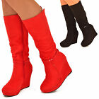 Ladies Womens Platform Wedge Knee Boots Long Suede Mid Heel Round Toe Boots Size