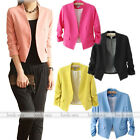 Hot Women Casual Work Fit Slim Candy Color Solid Slim Suit Blazer Coat Jacket
