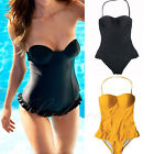 Women One Piece Padded Halter Ruffle Monokini Bikini Beachwear Swimsuit Swimwear