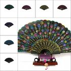 Lady's Folding Exquisite Embroider Peacock Lace Sequin Hand Fan M6079 DUK