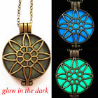 Glow in Dark Pendant Bronze Hollow Flower Locket Steampunk Fluorescent Necklace