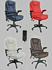 RECLINING 6 POINT MASSAGE FAUX LEATHER OFFICE DESK TABLE COMPUTER CHAIR ARMREST