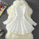 Womens Girls Lovely White/Black Lace Knee Length Daily Dress Three Style