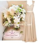RIVA Lace Chiffon Champagne Cappuccino Taupe Maxi Bridesmaid Dress UK 6 -18