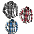 New Mens Slim Fit Long Sleeve Check & Plaids  Casual Dress Shirts Tops T-shirt