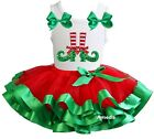 Red Green Satin Trimmed Tutu Xmas Elf Feets White Tank Top Party Dress