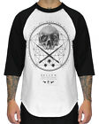 Sullen Sacred Art Mens T Shirt White Black Skull Tattoo Raglan Tee