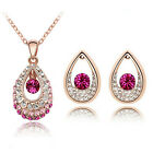 Fashion Lady Jewelry Set Crystal Pendant Necklace Earrings