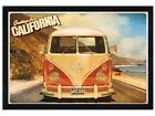 New Black Wooden Framed VW Camper Van Greetings From California Poster