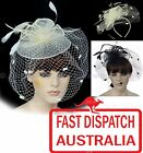 Wedding Funeral Church Hat Fascinator Fishnet Mesh Dotted Veil feather Headband