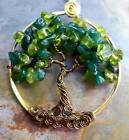 Tree of Life Necklace,Peridot/Dark Jade Tree of Life,August Birthstones  #003