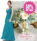 TARA Teal One Shoulder Corsage Chiffon Maxi Prom Evening Bridesmaid Dress SALE!!